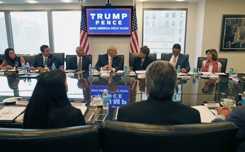 Republican presidential candidate Donald Trump holds a Hispanic advisory roundtable meeting in New York, Saturday, Aug. 20, 2016.