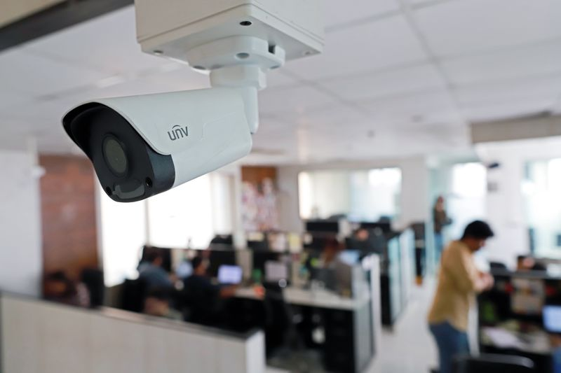 A CCTV camera installed for facial recognition is pictured in the office of  Staqu's at its headquarters  in Gurugram, Haryana, on the outskirts of New Delhi, India