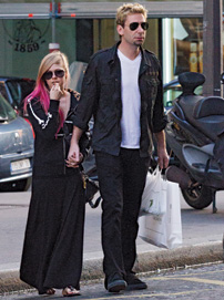 Kroeger with pop star, and fiancée, Avril Lavigne in Paris