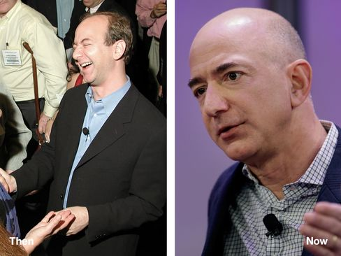 L-R: Jeff Bezos in 2000 and 2014