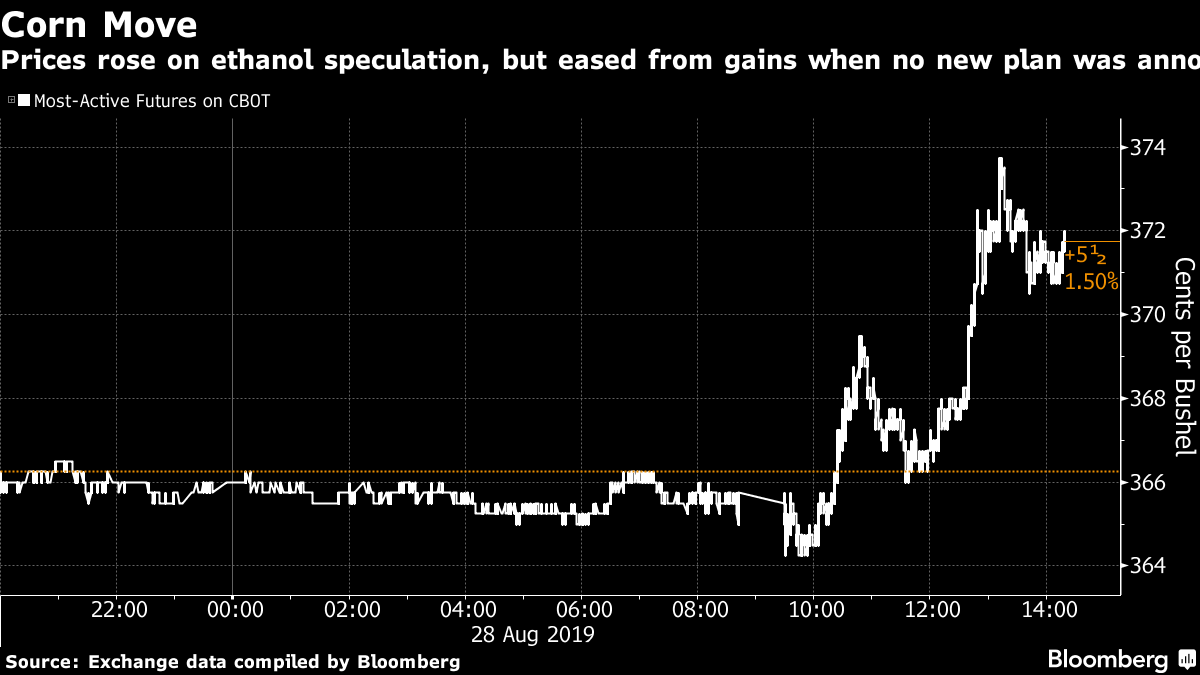 Prices rose on ethanol speculation, but eased from gains when no new plan was announced