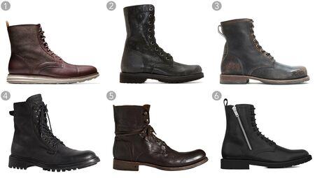 (1) Lunargrand waterproof lace boot, Cole Haan, $278, colehaan.com;(2) Black leather combat boots, Diesel, $310, ssense.com;(3) Wayde boot, The Frye Company, $358, thefrycompany.com;(4) Spencer Commando boot, Rag & Bone, $595,rag-bone.com;(5) Six O' six combat boots, John Varvatos, $698, johnvarvatos.com;(6) Rangers 25 zip boots in black, Saint Laurent, $995, ysl.com.