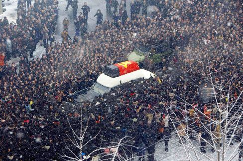 Kim Jong-Il's funeral procession in Pyongyang on Dec. 28, 2011