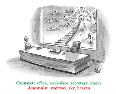 A sample New Yorker cartoon, with the associated tags, that was fed into Microsoft's artificial intelligence software.