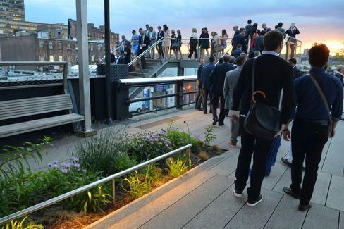 Procession at sunset on the High Line