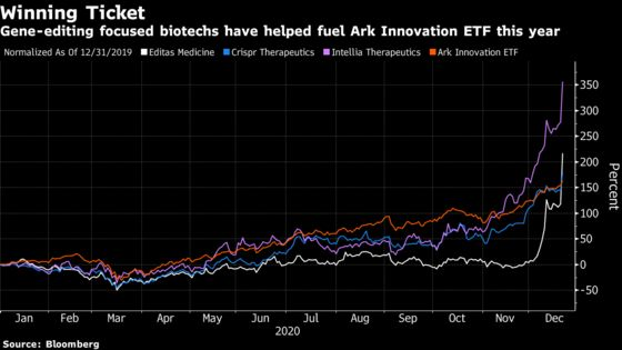 Cathie Wood's Biotech Bets Drive Ark Innovation ETF to Record