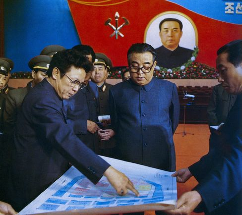Kim Il Sung and Kim Jong Il debate about the preparation for the 6th Congress of the Workers' Party of Korea in 1980.