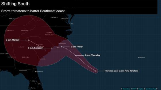 Florence to Park Above Carolina Coastline Dumping Rain for Days