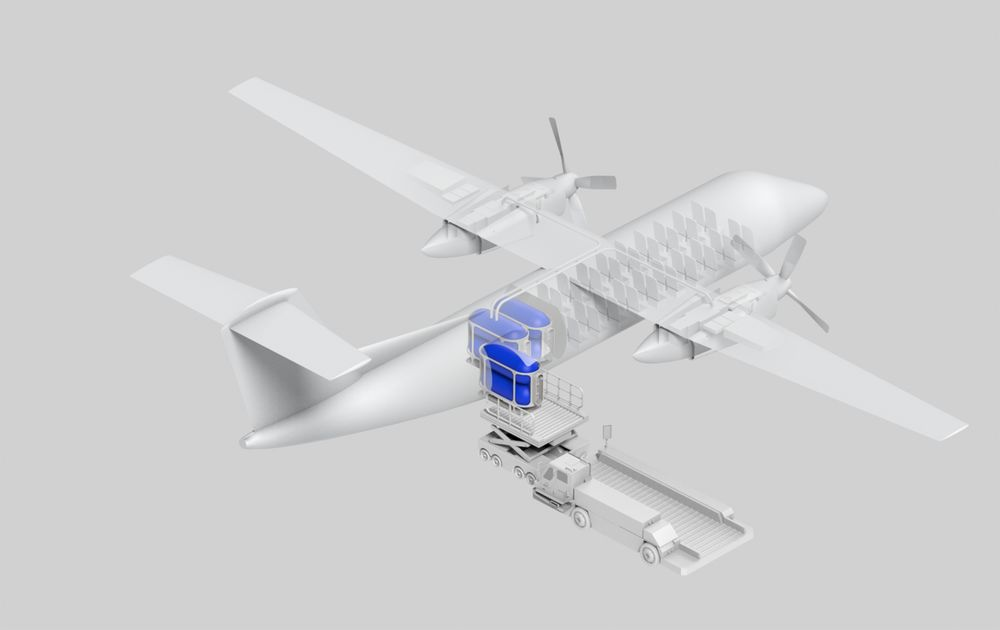 United Hydrogen's Kevlar-coated pods, used to store hydrogen during shipment and serve as fuel tanks in a plane powered by hydrogen fuel cells.