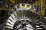 A gas turbine sits on the assembly line at the General Electric Co. (GE) energy plant.