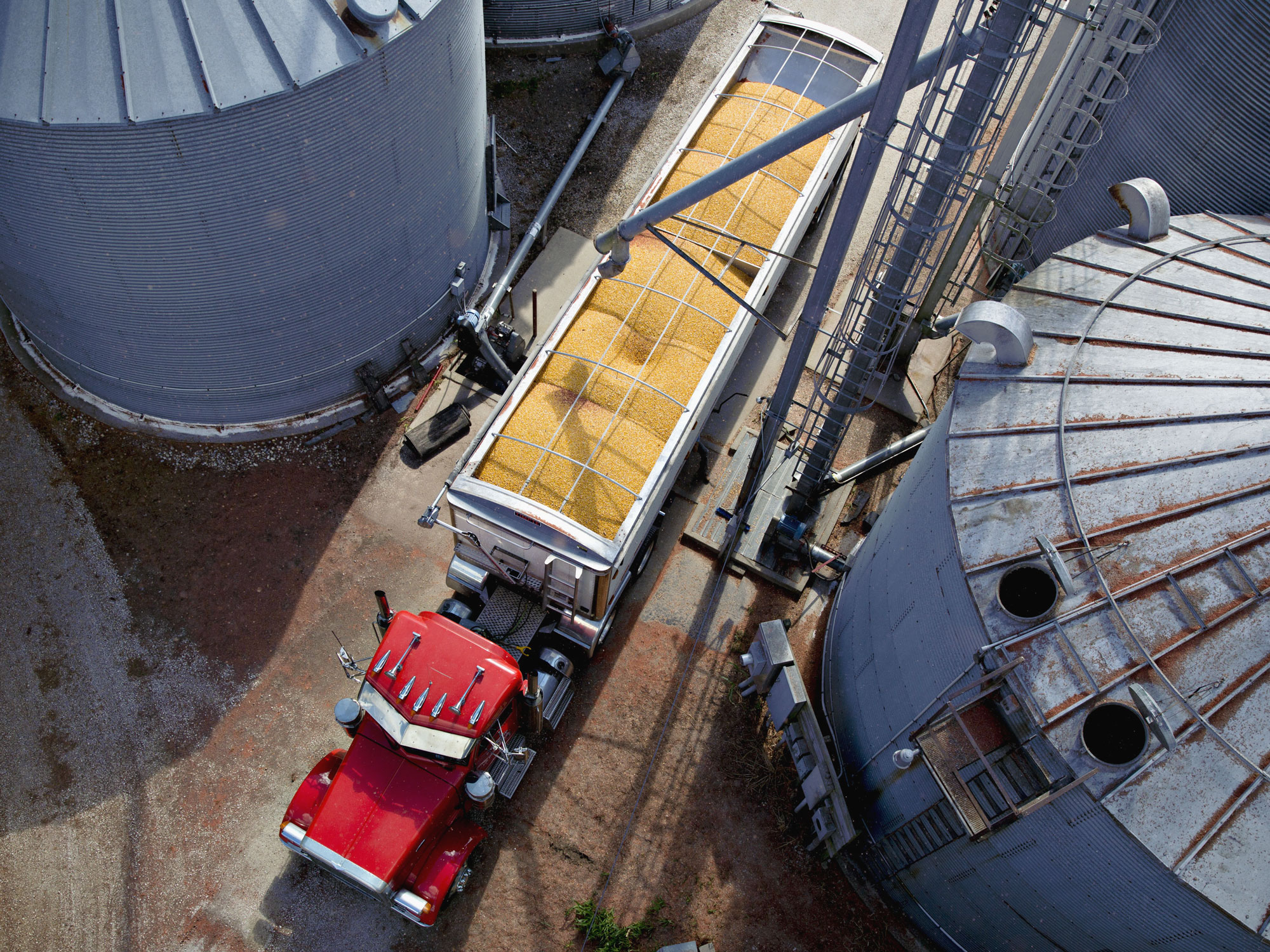 A truck hauls a load of corn between grain bins on a farm during harvest in Walnut, Illinois.