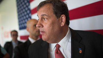 New Jersey Governor Chris Christie leaves a campaign event on June 12, 2015 in Cedar Rapids, Iowa.