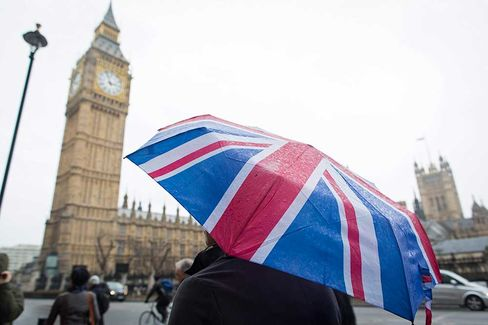 A tourist shelters from the rain beneath a Union flag-themed umbrella, as he walks near the Houses of Parliament and the Elizabeth Tower, home to Big Ben, in London, U.K., on Monday, Jan. 12, 2015.