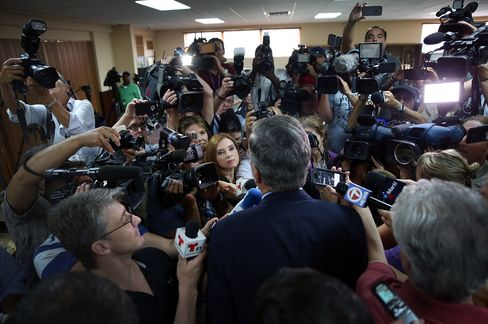 Former Florida Governor Jeb Bush speaks to the media after a town hall-style meeting in Miami on Sept. 1.