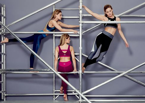 Models display Charli Cohen's line of luxury activewear.