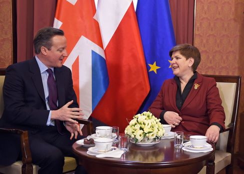 David Cameron and Beata Szydlo talk in Warsaw.