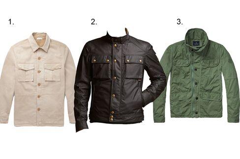 (1) Slim-fit cotton field jacket, Tomas Maier, $980, mrproter.com; (2)Quilted jacket, Belstaff, $695, belstaff.com; (3)Safari field jacket, Scotch & Soda, $235, scotch-soda.com