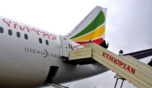 An Ethiopian Airlines Boeing 787 Dreamliner on arrival in Addis Ababa on Aug. 17, 2012.