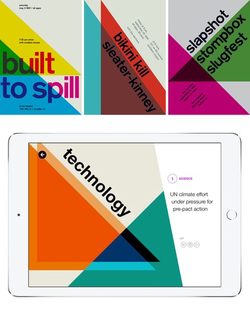 Top: Swissted designs. Bottom: A page from the Yahoo app.
