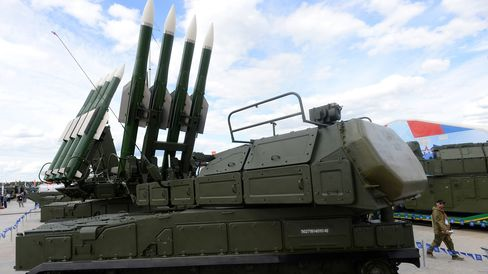 A Russian self-propelled surface-to-air missile systems BUK-M2E during the 'Army-2015' international military forum in Kubinka, outside Moscow, on June 17, 2015.