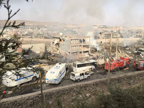 The damaged police headquarters in Cizre on Aug. 26.