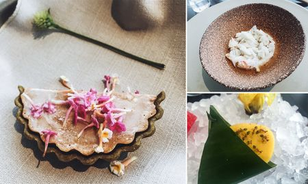 Clockwise from left: scallop pie with lantana flowers; snow crab with cured egg yolk; and mango seasoned with ants.