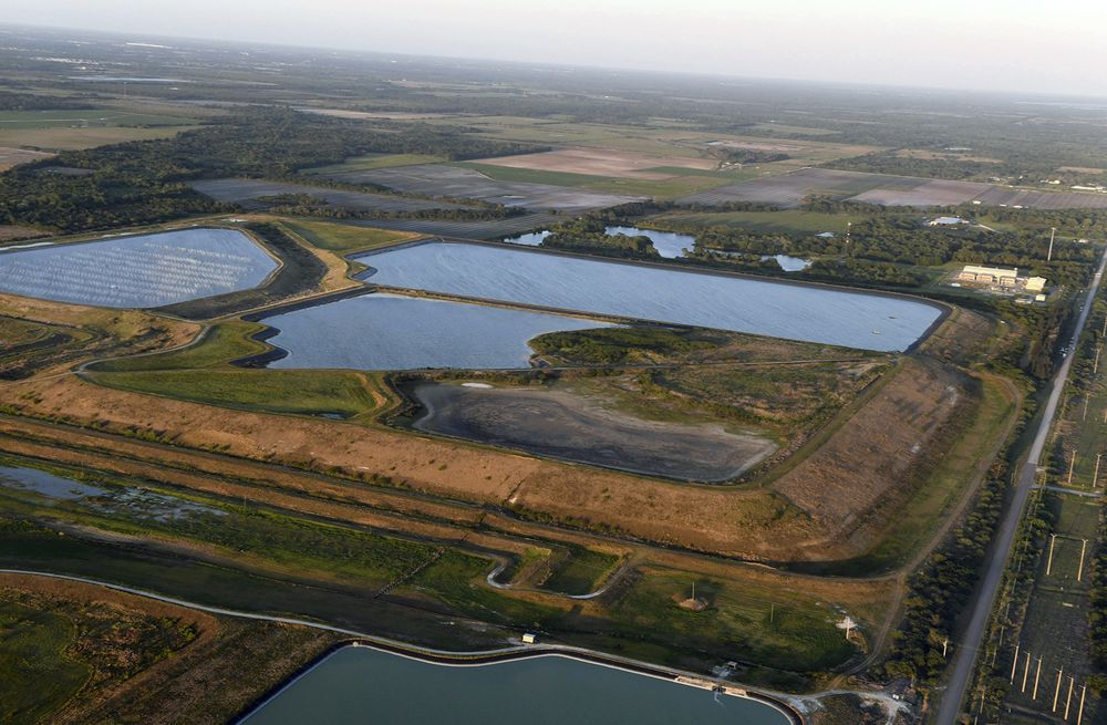 The old Piney Point phosphate mine in Florida. The pond sits in a stack of phosphogypsum, a radioactive waste product from manufacturing fertilizer.