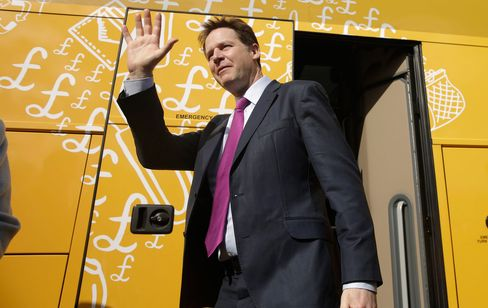 Nick Clegg visits the proposed construction site of the Watford Health Campus in Watford, U.K., on March 31.