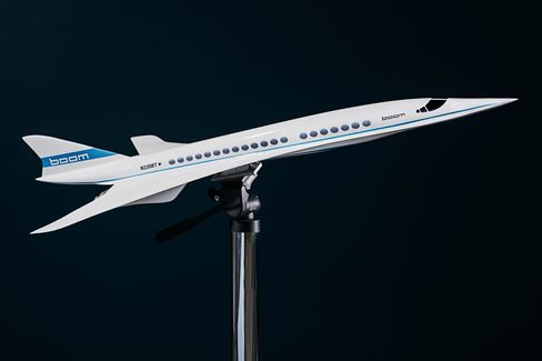 A model of the Boom supersonic jet.