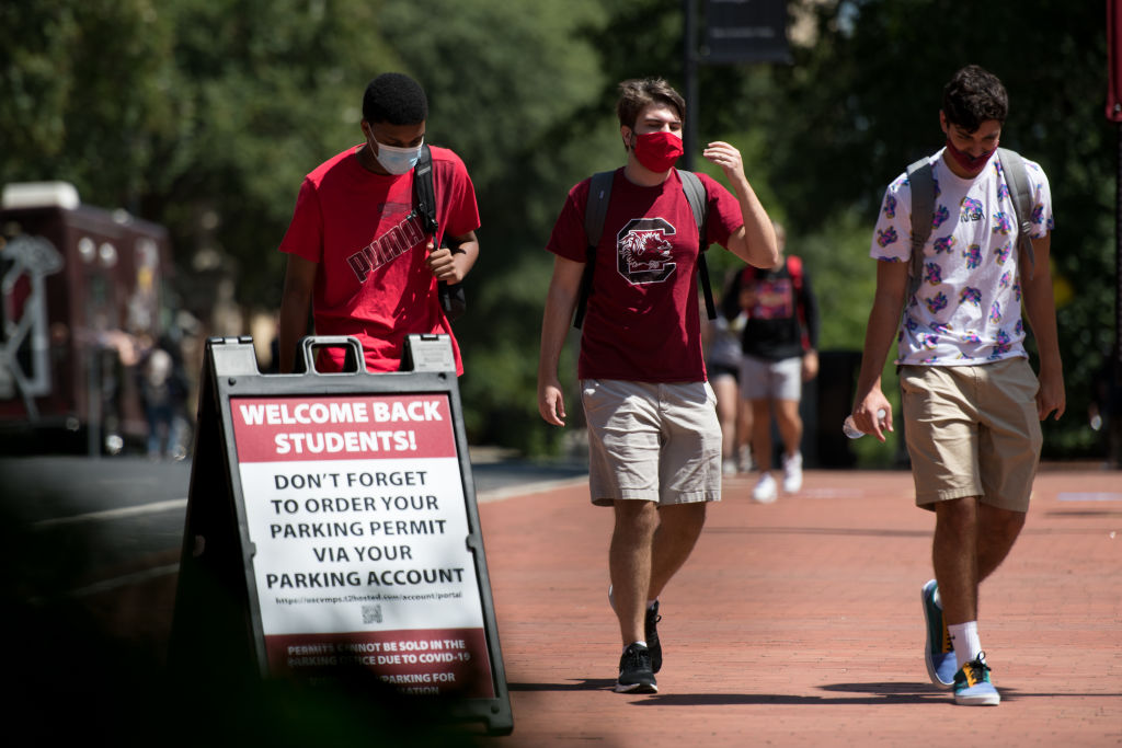 Students at the University of South Carolina, which is dealing with a surge of coronavirus cases.