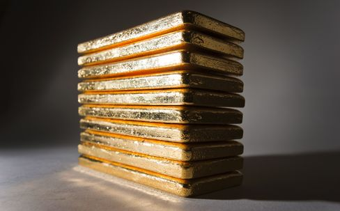 Gold Bars Sit On Dispaly