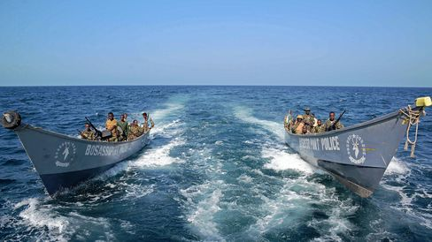 The Somali coast guard carry out a patrol off the coast of Bosaso in Puntland.