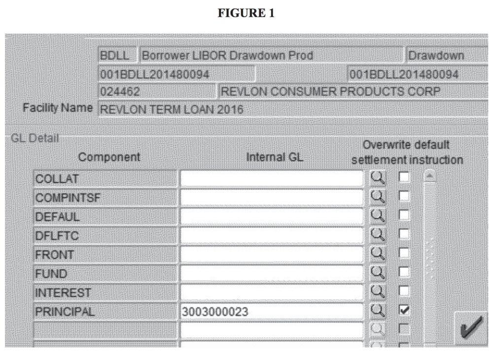 Figure 1. Gray background with metadata at the time followed by a scrollable table with 3 columns: Component, Internal GL, and Overwrite default settlement instruction. 8 rows follow with names like COLLAT and COMPINTSF. All rows are empty except for the last, PRINCIPAL, which is filled in with 3003000023 and a checked 3rd column.