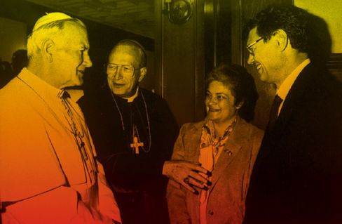 Pope John Paul II meets the Monaghans during the Pontiff's 1987 visit to the U.S.