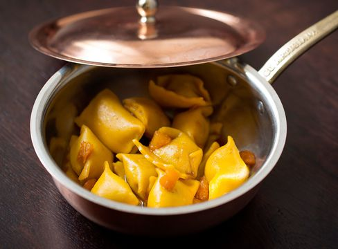 Agnolotti with guinea fowl and peaches is one of the best dishes, with a faint balance between sweetness and acidity.