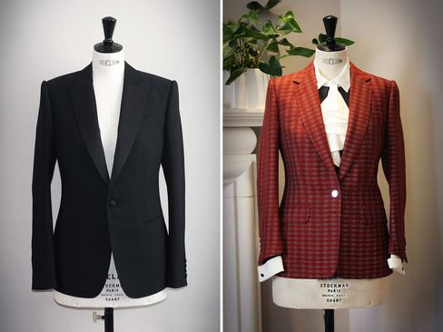 """From left: A ladies' bespoke dinner suit jacket created for client Birgit Neu; a ladies' red tweed jacket inspired by a design created for Lady Courtenay. Both were featured in the exhibition """"Savile Row and America: A Sartorial Special Relationship"""" at the British Ambassador's residence in Washington, D.C. in May."""