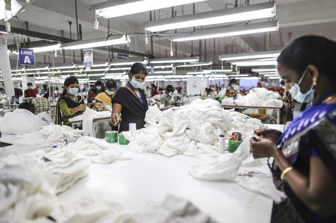 Production line of the CBC Fashion factory in Tiruppur.
