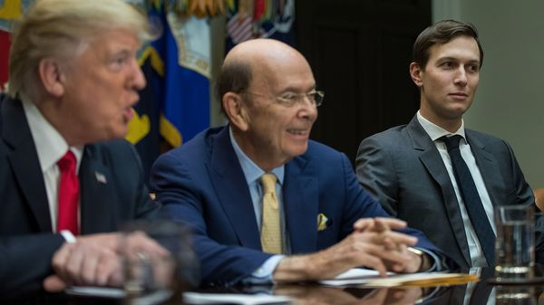 President Donald Trump, Commerce Secretary nominee Wilbur Ross and senior advisor Jared Kushner attend a meeting at the White House on Feb. 2, 2017.