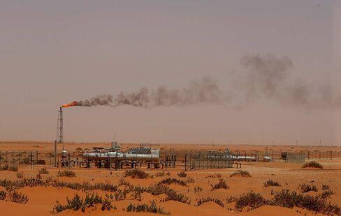 A Saudi Aramco oil installation near Khouris, Saudi Arabia.