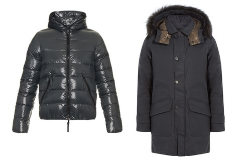 Duvetica's Dionisiodue quilted hooded down jacket (left) and down parka with fur-trimmed hood (right). Also check out itssignature puffers in more high-watt colors, such as red and green.