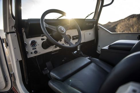 The interior of the Jeeps is minimal, with basic dials, a heater, a stereo, and complete water-proofing.