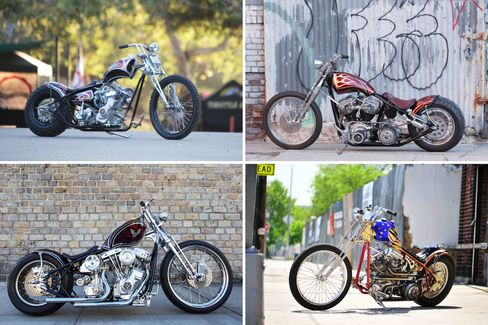 A selection of Cox's bespoke choppers. Clockwise from top left: Guillotine; N.Y.O.B.; Sword of Damocies; Damian