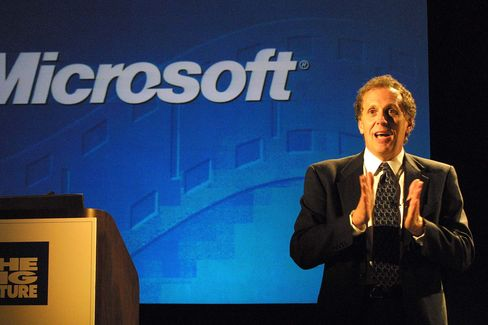 Richard E. Belluzzo, former president and chief operating officer at Microsoft, speaks in New York on April 3, 2001.