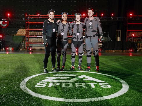 Alex Morgan, Sydney Leroux, Megan Rapinoe and Abby Wambach of the U.S. Women's National Team wearing motion capture suits at the EA MOCAP facility in Burnaby, British Columbia on April 7, 2015.