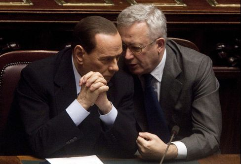 Italy's Silvio Berlusconi and Giulio Tremonti