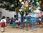 Children play at kindergarten in Fukushima city, Japan.