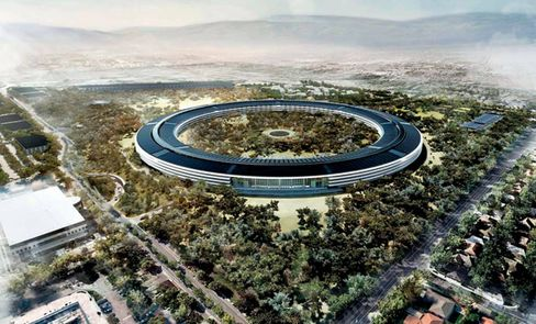 A rendering of the proposed Apple headquarters