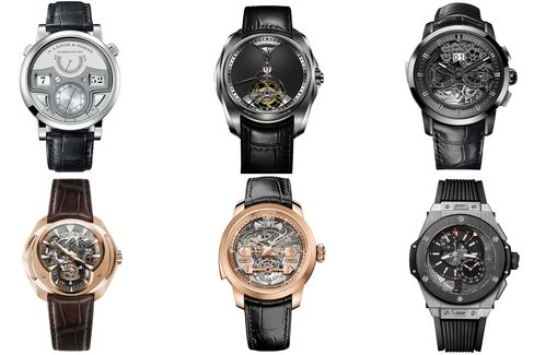 Repeaters and alarms, some with tourbillons, others alone.