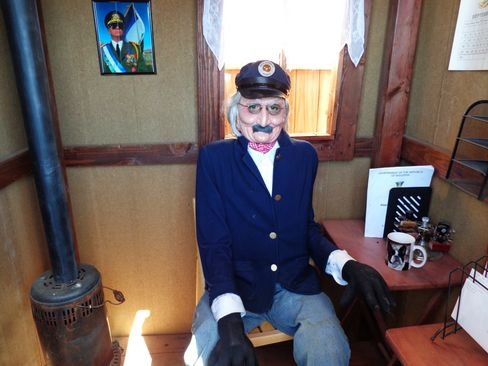 This is Fred, the mannequin acting as postmaster of Molossia.