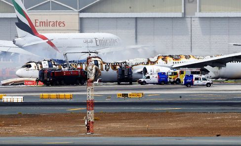 The Emirates aircraft Aug. 3 after being gutted by fire at Dubai International Airport.